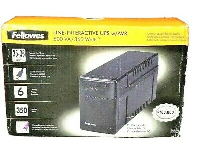 UPS SURGE PROTECTOR 600 VA /360 Watts Fellowes Line-Interactive AVR Part #3B4260