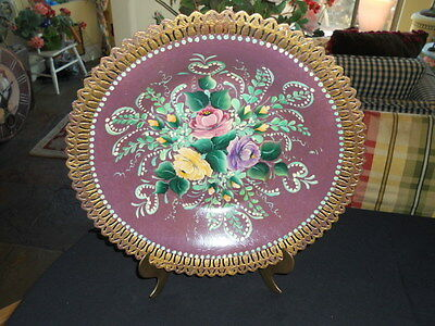 "Vintage Tole Floral Hand Painted ROYALTY ALUMINUM WARE  13 7/8"" Bowl - Rare"