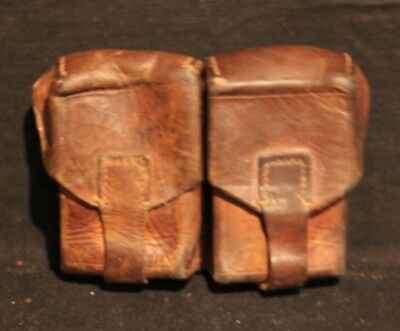 Vintage Military Dark Brown Leather 8Mm Mauser Dual Cell Ammo Pouch Yugoslavian