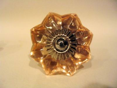 Glass Flower Drawer Pulls Cabinet Knobs Bifold Doorknobs in Light Peach