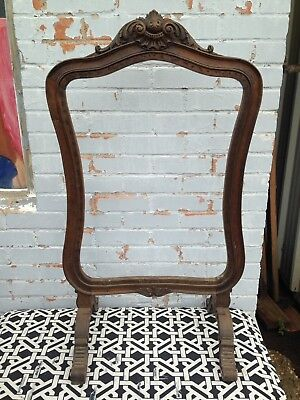 Antique French Wood Fireplace Screen Frame