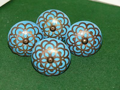 VINTAGE SET Of 4 turquoise ceramic brass filigree drawer pulls knob