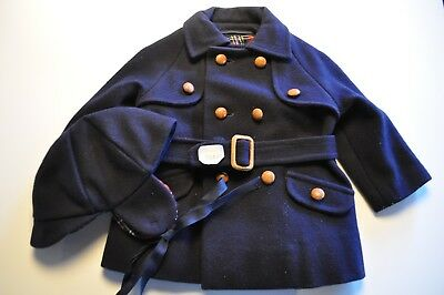 Vintage Baby Boys Coat and Matching Hat Navy Blue Wool Unbranded