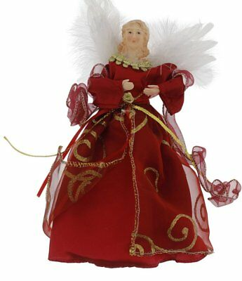 """Elegant Christmas Holiday Angel Treetop Tree Topper Decoration, Red or Gold, 9"""""""