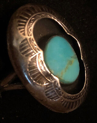 Best! Early Navajo Hand Stamped Shadowboxed Natural Turquoise Ring Size 6.75