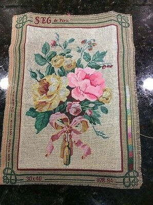 Seg De Paris Needlepoint Canvas Partially Done Flowers 828.94