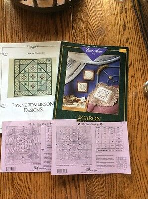 LOT OF 7 Cross Stitch Needlepoint Quilt Square Designs