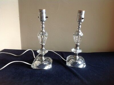 Pair of Matching Vintage Crystal Boudoir or Nightstand Lamps by Leviton