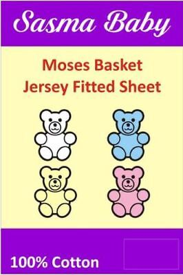2 x Moses Basket / Baby Crib Soft 100% Cotton Jersey Fitted Sheets