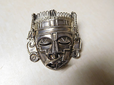 Vintage Mexico Sterling Silver Aztec Mayan Mask 3D Articulated Nose Ring Brooch