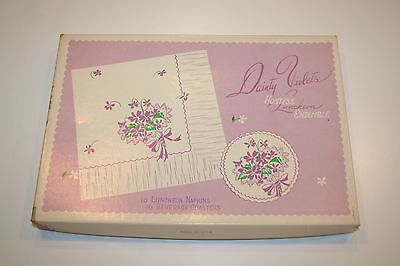 Vintage Dainty Violets Luncheon Ensemble Paper Napkins & Coasters in Orig Box