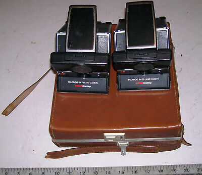Lot of 2 Polaroid SX-70 Land Camera Sonar OneStep SX70 One Step w/ Leather Case