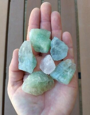 GemFarmer AFM: 1/4 Lb Lot of Raw Aqua Blue Green Fluorite Rough Crystals Chakra