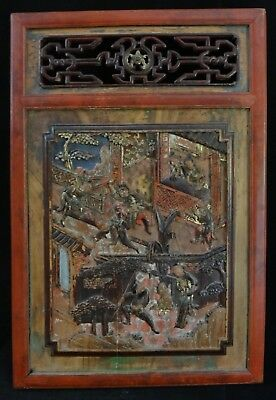 """Antique Chinese Carved & painted Wood Panel 19th c. Qing dyn. 29"""" x 19"""" ."""