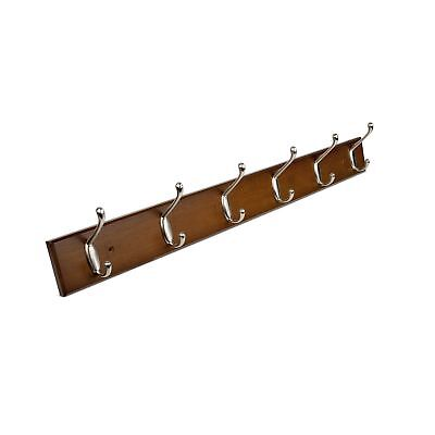 HOMFA Bamboo Hook Rack with 6 Dual Scroll Wall Hanger Hooks for Jackets Coats...