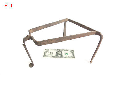 Antique 19th C. Blacksmith Made Wrought Iron Fireplace 3 Legged Spider/ Trivet 1