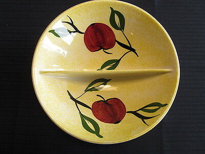 Blue Ridge Southern Pottery Divided Bowl Apples and Leaves Yellow b/grond 8 1/2""