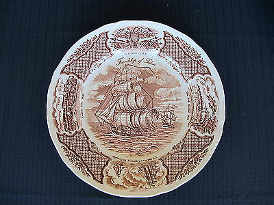"""Alfred Meakin Stafordshire Fair Winds Brown Dinner 10.5"""" Plate Historical Scenes"""