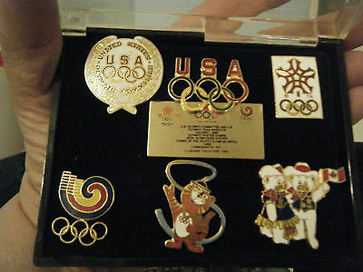 Olympic Cloisonne Pin Set from 1988 Calgary Winter Games