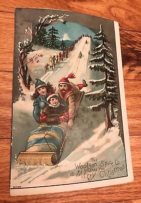 Antique Lion Coffee Woolson Spice Christmas Victorian Trade Card Toboggan SLED