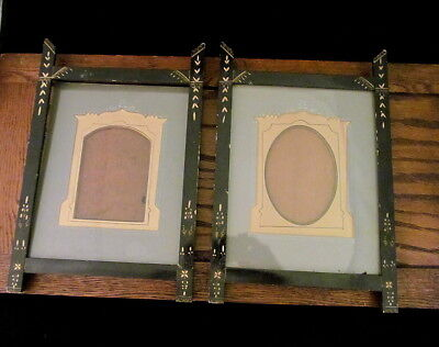 2 Beautiful 1870 Victorian EASTLAKE Ebony Antique Frames Fancy Decorated Mats