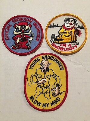 Lot Of 3 Vintage Patches NOS Snobunnies Funny Snowmobile Snow 4x4 Rat Hot Rod
