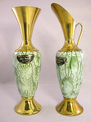 Vintage Set of 2 Brass Porcelain Vase & Pitcher Marked OLD DUTCH DELFT Portugal