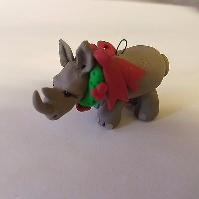 RHINO CHRISTMAS ORNAMENT Hand Made Polymer Clay RHINOCEROS with WREATH OOAK