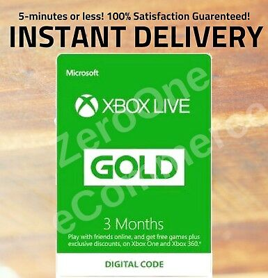 Microsoft Xbox Live 3 Months Gold Membership - INSTANT DISPATCH, RETAIL $24.99