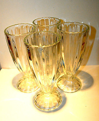 4 Vintage Pressed Glass Parfait Glasses Cups Ribbed Drugstore Style Retro Vgc