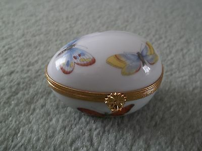Limoges Dubarry Egg Shape Trinket Box