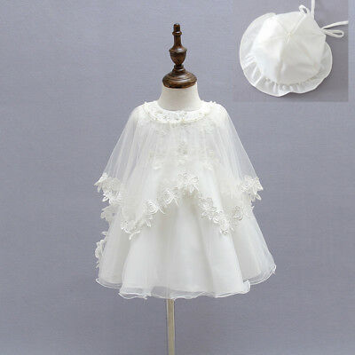 Newborn Baby Christening Gown Infant Lace Baptism Dress with Cape&Bonnet 3pcs