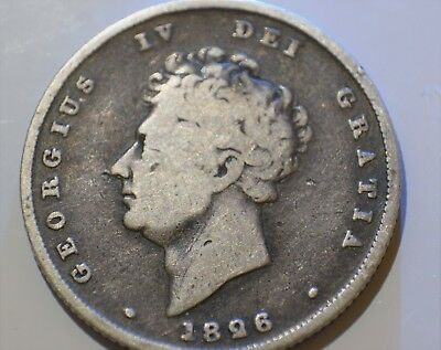 1826 GEORGE IV BARE HEAD SHILLING SILVER - COLLECTABLE GRADE (aF)