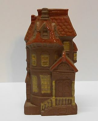 Wall Pocket House Brown Pottery Orange Roof Yellow Window Accents Vintage Japan