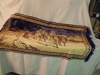 "Antique 19Th Century 24"" By 48"" Turkish Silk Hand Woven Three Kings Tapestry"