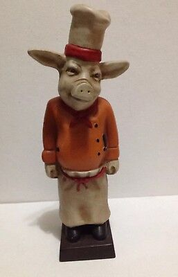 "Vintage French Pig Chef (11"" Tall) Resin Statue/ Door Stop/ Bookend w/Chef's Hat"