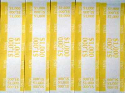 25 - Yellow $10 Self-Sealing Currency Bands - $1,000 Cash - Money Straps For Ten