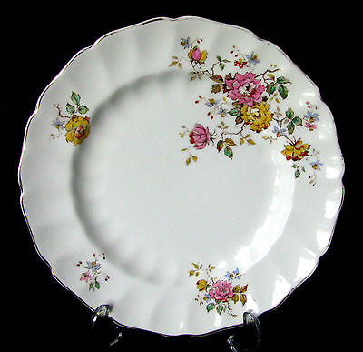 """Johnson Brothers Old Chelsea Pink Rose & Yellow Rose 9 7/8"""" Dinner Plate"""