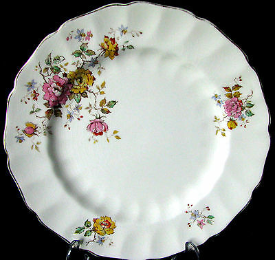"""Johnson Brothers Old Chelsea Pink & Yellow Rose 9 7/8"""" Dinner Plate - Crazing"""