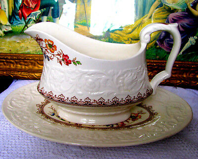 Booths Corinthian Rare Wild Rose Gravy Boat & Tray Made in England