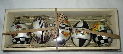 MACKENZIE CHILDS Set of 5 VIOLET EGGS Black White New Old Stock in Wood Box