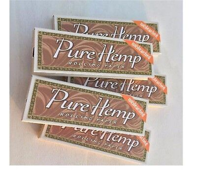 Pure Hemp UNBLEACHED Cigarette Rolling Papers, 5 Packs / Booklets,1 -1/4 , 78mm