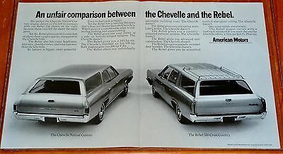 1968 Amc Rebel 550 Station Wagon Ad Compered To Chevelle Nomad - Vintage 60S