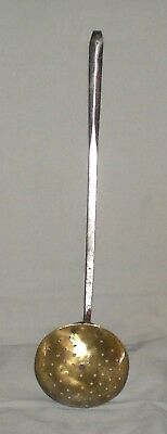 Antique Brass Straining Ladle With Wrought Iron Handle