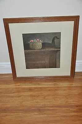 """Vintage Academy of Art Chicago Duck and Fruits Print Sign AW Brown Frame 22""""x22"""""""