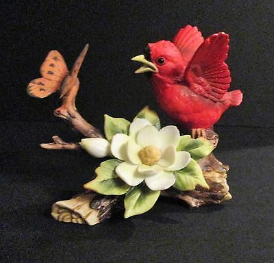 Lefton Red Baby Cardinal with Magnolia and Butterfly