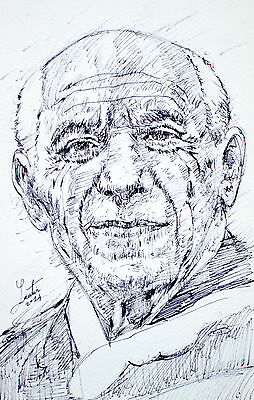 PABLO PICASSO -ORIGINAL drawing PORTRAIT-ONE of a KIND! painter art pain spanish