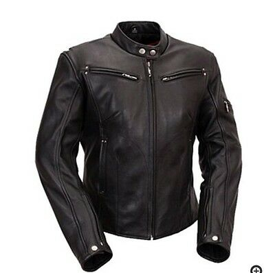 FIRST CLASSIC'S Black Leather Motorcycle Jacket NEW