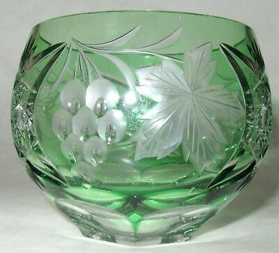 Vintage Bohemian Czech Crystal Emerald Green Cut-to-Clear Grape-Themed Cup