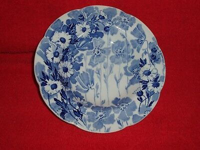 """Wood & Sons 'GAY DAY' Pattern 8"""" Single Soup Bowl Blue & White Vintage England"""